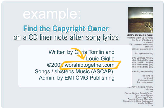 Find the Copyright Owner in CD liner
