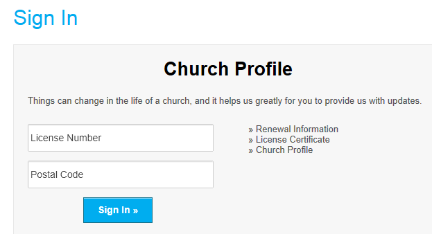 Church Profile Login